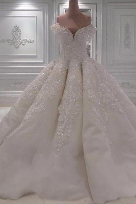 Wedding Dresses, Wedding Gown,sexy off the shoulder white lace sweetheart ball gown wedding dresses with illusion back 2018 new design Princess Wedding Dresses PD20187864