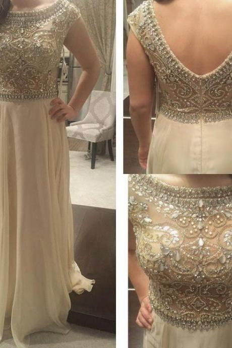 New Arrival Prom Dress,Modest Prom Dress,Long Prom Dresses 2018 Scoop Sleeveless Backless Sweep Train Crystal and Beading Chiffon Formal Dress A-line Party Dress PD20190120