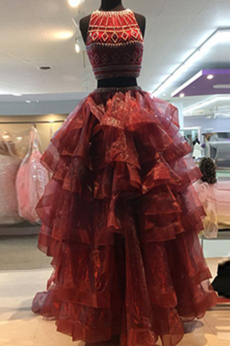 Red Prom Dresses,Beading Prom Dress,Two Pieces Prom Gowns,Handmade Evening Dresses,Modest Evening Dresses,Pretty Party Dresses PD20181046