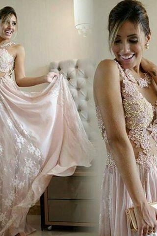 Prom Dresses,Sexy 2018 Pearl Scoop Lace Floor-length Pink A-line Evening Gown PD20181064