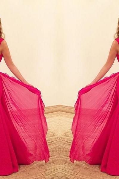 Chiffon Prom Dresses,Hot Pink Prom Dress,Modest Prom Gown,Cheap Prom Gowns,Simple Evening Dress,Princess Evening Gowns,Party Gowns PD20182819