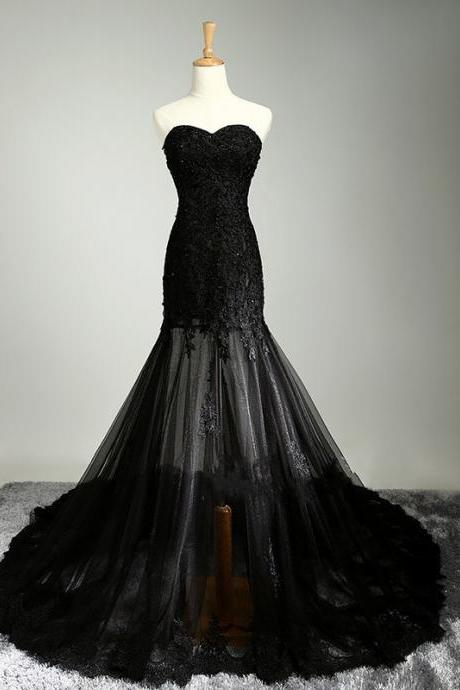 Mermaid Prom Dresses,Black Lace Prom Dress,Prom dress,Modest Evening Gowns,Cheap Party Dresses,Graduation Gowns PD20187512