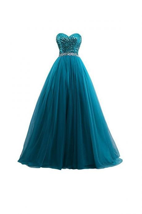 Sexy Tulle Sequin Ball Gown Prom Dresses Evening Gown PD20187549
