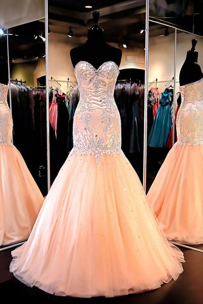 Pretty Mermaid Sweetheart Tulle Prom Dresses Evening Gowns With Beading PD20187564