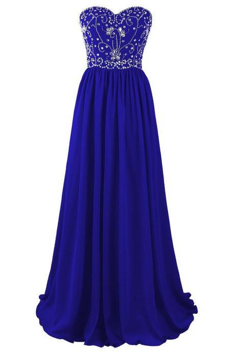 Beautiful Blue Chiffon Beaded A-line Prom Dresses 2018, Blue Long Prom Gowns, Party Dresses, Evening Dresses PD20187574