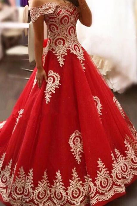 New Arrival Prom Dress,Modest Prom Dress,gold lace appliques prom dress,red evening gowns,elegant bride dress,prom dress 2018,wedding dress 2018 PD20187720