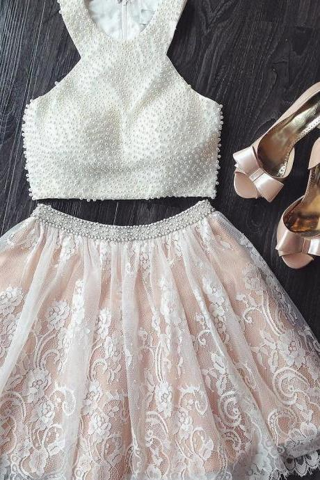 chic pearl beaded lace dresses,white homecoming dresses,two piece prom gowns,short prom dress 2018,women's party dress PD20187998