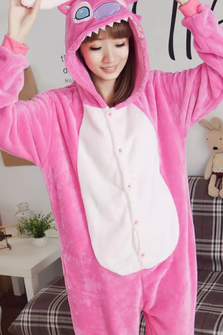 Adult Kigurumi Homewear Pajamas Cosplay Costume Women Men Stitch Sleepwear Hooded Long Sleeves Sleepsuit Halloween Gift Free