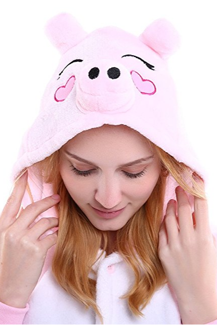 Uinisex Adult Pajamas Onesie Kigurumi Cosplay Costumes Animal Jumpsuit pink Pig