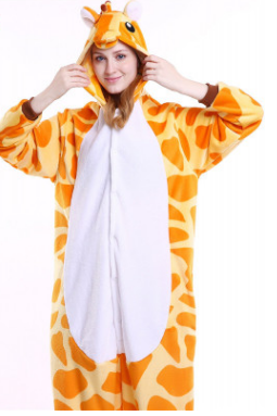 Adult Onesie Plush giraffe Cartoon Hooded Cozy One Piece Pajamas