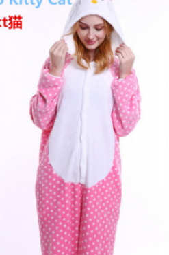 Adult Pink Dots HKT Cat Pajamas Animal Onesies Costume Kigurumi